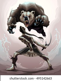 Battle scene between an elf and an angry bear. Vector fantasy illustration