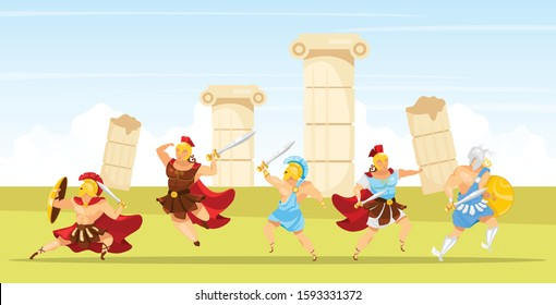 Battle scene flat vector illustration. Gladiators fight. Man with swords and shield. Columns and pillar ruins. Fighter with weapons. Spartan army. Greek mythology. Warriors cartoon characters