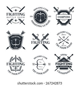 Battle show vector logo emblem. Fighting club. Try your hand