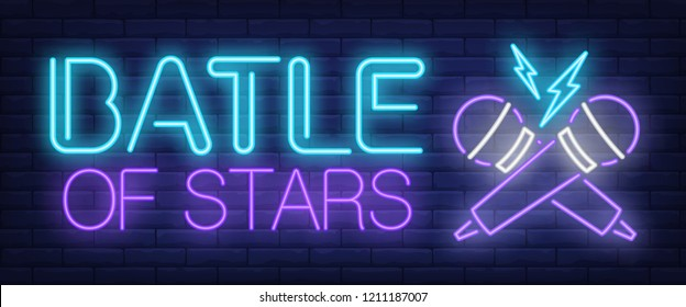 Battle of stars neon sign. Crossed microphones on brick background. Karaoke, show, standup battle. Night bright advertisement. Vector illustration in neon style for leisure, nightlife, entertainment