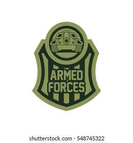 Battle tank logo design template