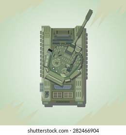 Battle Tank. Top view. Vector illustration.