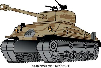 battle tank vector, vector graphic to design - Vektör