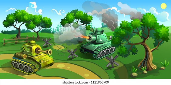 Battle of tanks in forest. Vector illustration of military machines.