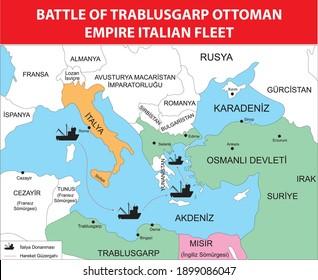 battle of trablusgarp ottoman empire turkish history map Italian fleet