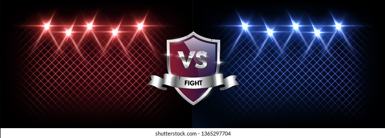 Battle vector banner concept. Competition illustration with glowing grunge silver shield with versus symbol and spotlights. Night club event promotion. MMA, wrestling, boxing fight poster