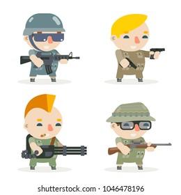 Battle war rpg game soldier heroes gunman rifleman sniper character vector icons set flat design vector illustration