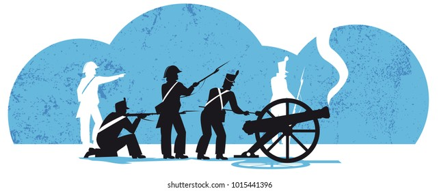 The Battle of Waterloo, napoleonic french soldiers, vector illustration