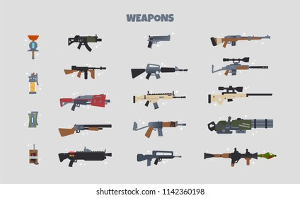 Battle weapons vector icon set