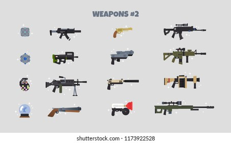 Battle weapons vector icon set #2