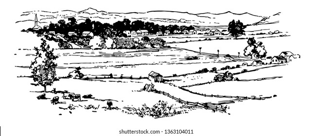Battlefield of Franklin fought in 1864 , was the site of second  battle of Franklin vintage line drawing.