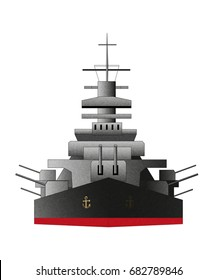 Battleship icon. Vector color illustration, isolated on white. Flat style. Navy armored boat