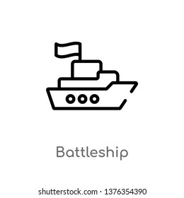 battleship vector line icon. Simple element illustration. battleship outline icon from transport concept. Can be used for web and mobile