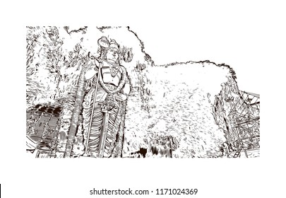 Batu Caves is a limestone hill that has a series of caves and cave temples in Gombak, Selangor, Malaysia. Hand drawn sketch illustration in vector.