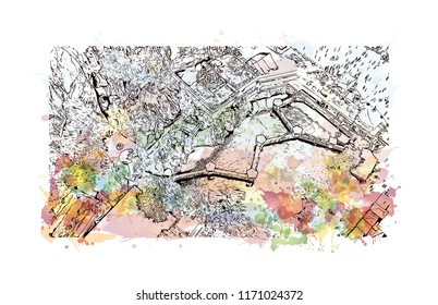 Batu Caves is a limestone hill that has a series of caves and cave temples in Gombak, Selangor, Malaysia. Watercolor splash with Hand drawn sketch illustration in vector.