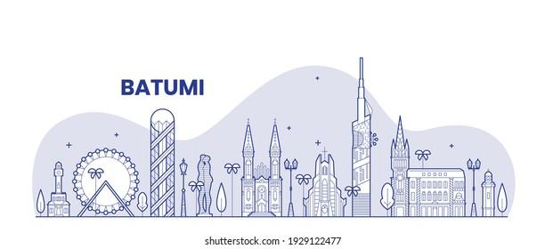 Batumi, Georgia, Ajara, vector batumi city, ali and nino, alphabeat tower, church, chacha house.