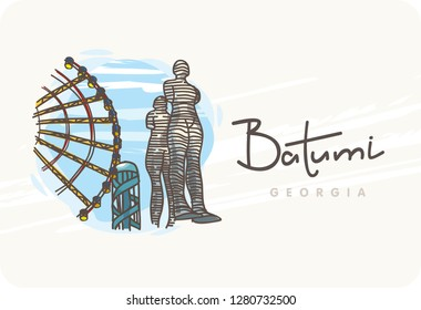 "Batumi. Georgia post card. Moving metal sculpture ""Ali and Nino"" (the old name ""Man and Woman"") on the New Boulevard. Alphabetic Tower. Vector calligraphy. Typography poster."