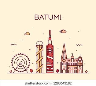 Batumi skyline, Georgia. Trendy vector illustration, linear style