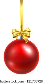 A bauble Christmas ball glass ornament in red with a golden bow and ribbon