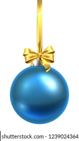 A bauble Christmas ball glass ornament in blue with a golden bow and ribbon