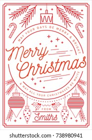 bauble christmas greetings template vector/illustration