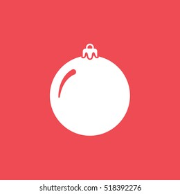 Bauble Christmas New Year Flat Icon On Red Background