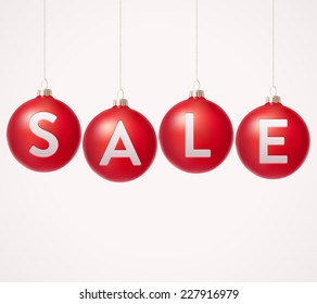 Baubles with sale label. Vector illustration