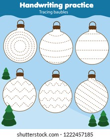 Baubles tracing lines for toddlers. Handwriting practice sheet. Educational children game, printable worksheet for kids. Christmas and New Year theme.