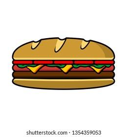 Baugette sandwich vector