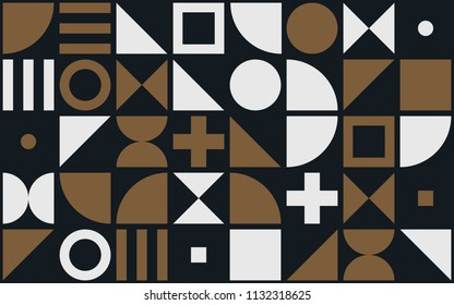 Bauhaus art vector pattern background of geometric shapes and simple elements of circles, triangles or squares and cross