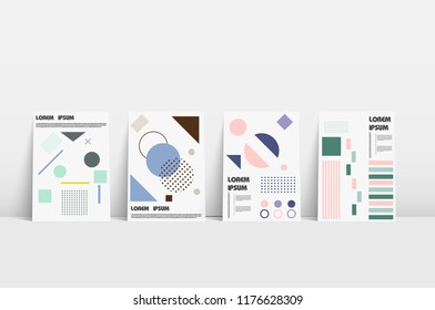 Bauhaus covers. Bauhaus green bauhaus covers or brochure template on halftone light background. Vector presentation template. Vector circle infographic. Business presentation. Vector illustration. Bau