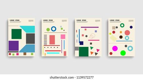 Bauhaus. Modern bauhaus business template with bauhaus. Vector design banner background. Abstract vector layout background set. Business icons set. Bauhaus pattern. Ribbon icons.