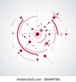 Bauhaus retro wallpaper, art vector red background made using grid and circles. Geometric graphic 1960s illustration can be used as booklet cover design. Technological pattern.