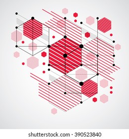 Bauhaus retro wallpaper, art vector red background made using grid, circles and rhombuses. Geometric graphic 1960s illustration can be used as booklet cover design. Technological pattern.