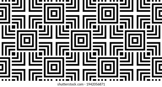 Bauhaus Seamless Background   Repeating Black and White Geometric Wallpaper   60s Mod Design   Art Deco Inspired Vector Pattern   Monochromatic Squares, Abstract Pop Art Background