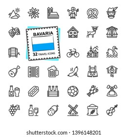 Bavaria, Bavarian, Bayern - minimal thin line web icon set.  Outline icons collection. World Travel tourism. Simple vector illustration.