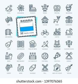 Bavaria, Bavarian, Bayern - minimal thin line web icon set.  Outline icons collection. World Travel tourism. Simple vector illustration.