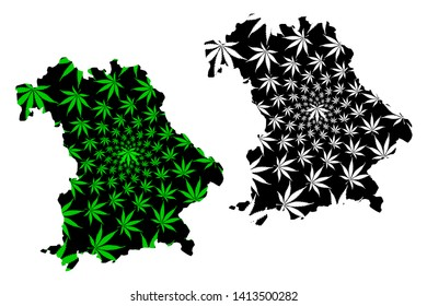 Bavaria (Federal Republic of Germany, State of Germany) map is designed cannabis leaf green and black, Bavaria(Free State of Bavaria) map made of marijuana (marihuana,THC) foliage,