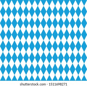 Bavarian background. Blue-white vertical diamond in a checkerboard pattern. Germany. Oktoberfest. Bavarian flag. Seamless pattern.