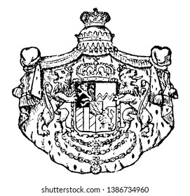 Bavarian Coat of Arms is the part of the german state of Rhineland Palatinate, it is the number of lozenges varied from 15th century were used and increasing, vintage line drawing or engraving