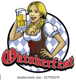 bavarian girl with a glass of beer celebrating oktoberfest