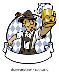 bavarian man celebrating oktoberfest with a big glass of beer