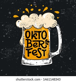 Bavarian Oktoberfest. Vector flat color text illustration for German beer festival in Munich. Hand Drawn Lettering in picture of beer mug with foam. Template poster, menu, flyer. Cracks can be removed