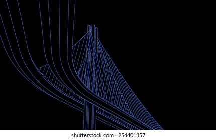 Bay bridge vector on black background