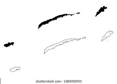 Bay Islands Department (Republic of Honduras, Departments of Honduras) map vector illustration, scribble sketch Roatan, Guanaja and Utila (Islas de la Bahia) map