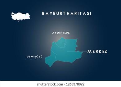 Bayburt districts Aydintepe, Demirozu map, Turkey
