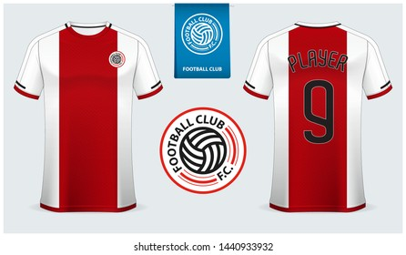 Bayern Soccer jersey or football kit mockup template design for sport shirt. Football t-shirt mock up. Red and white soccer uniform in front view back view. Football logo design. Vector Illustration