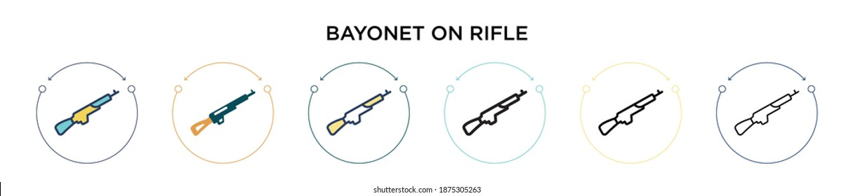 Bayonet on rifle icon in filled, thin line, outline and stroke style. Vector illustration of two colored and black bayonet on rifle vector icons designs can be used for mobile, ui, web