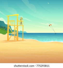 Baywatch tower on the sandy coast. Lifeguard house on tropical beach. Lifeguard watching the rolling surfer in the sea.
