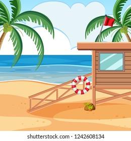 A baywatch wooden beach tower illustration